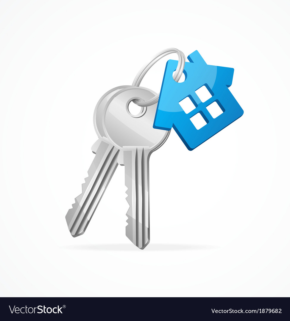 House keys with blue key chain vector | Price: 1 Credit (USD $1)