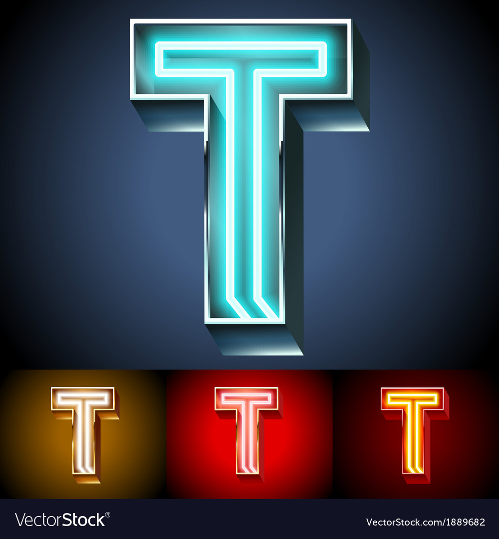 Realistic neon tube alphabet for light board vector | Price: 1 Credit (USD $1)