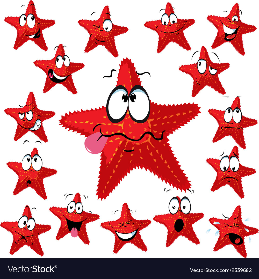 Red sea star cartoon with many expressions vector | Price: 1 Credit (USD $1)