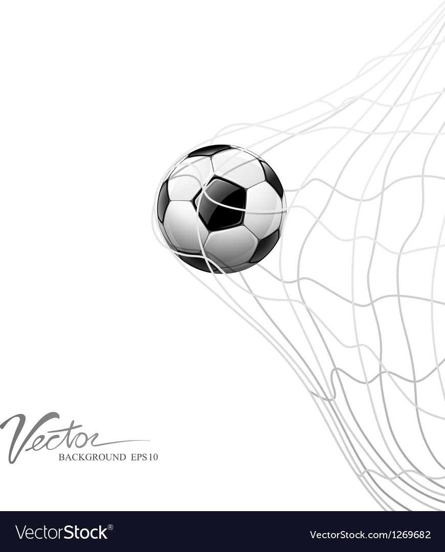 Soccer ball in net on goal vector