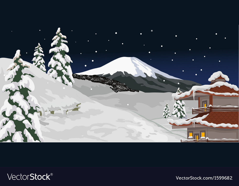 Winter evening vector | Price: 1 Credit (USD $1)