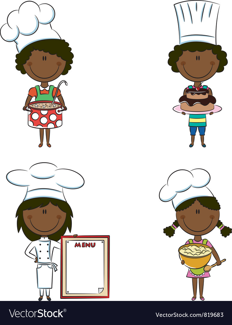 African-american chef girls vector | Price: 3 Credit (USD $3)