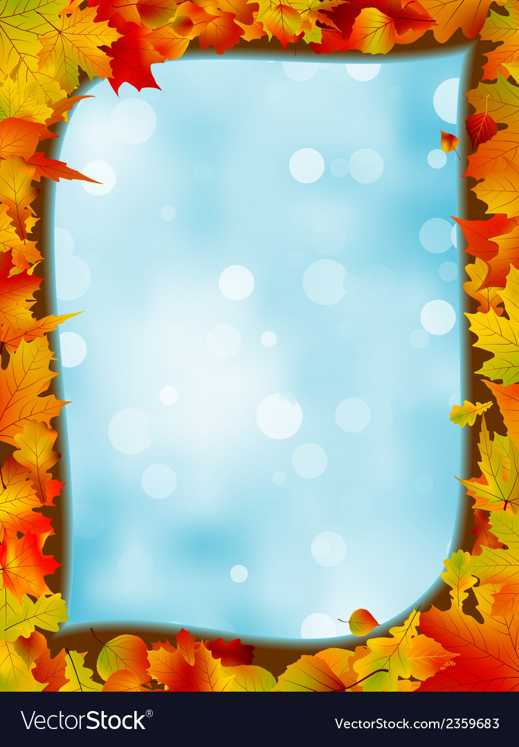 Autumn leaves with background of blue sky eps 8 vector | Price: 1 Credit (USD $1)