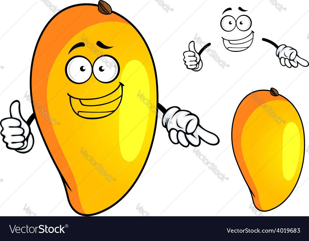 Cartoon yellow mango fruit character vector | Price: 1 Credit (USD $1)
