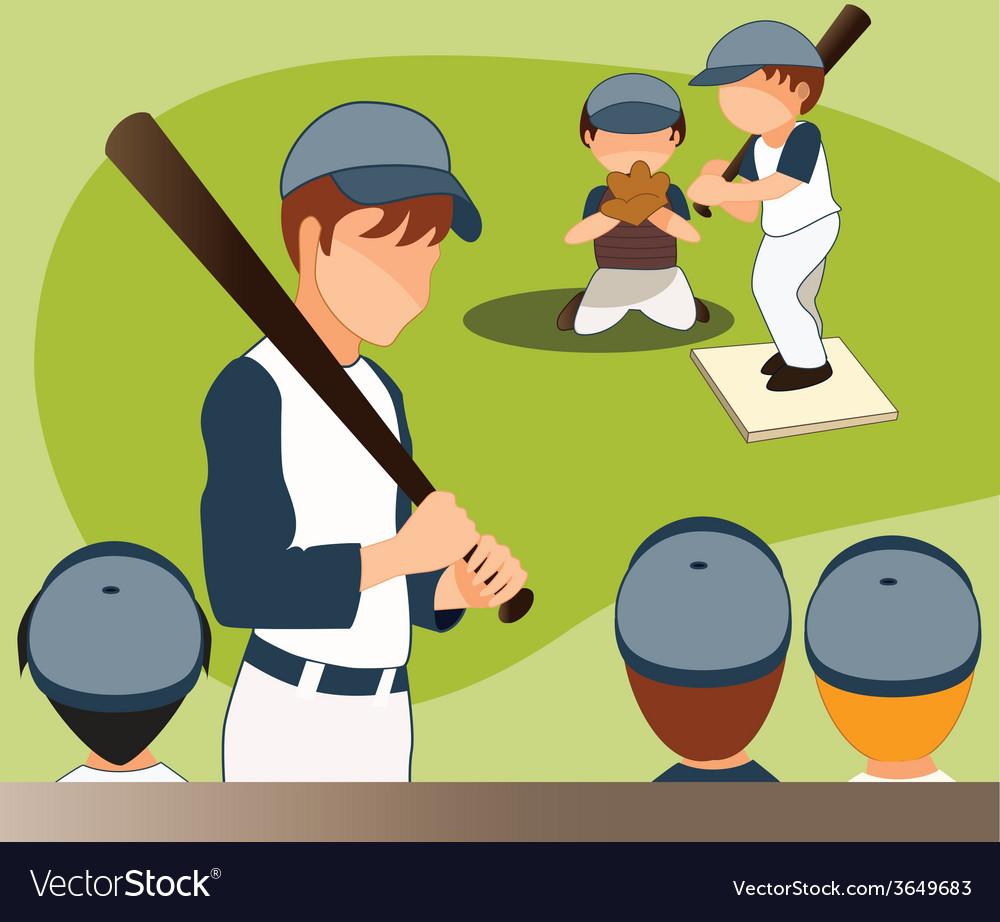 Children-playing-baseball vector | Price: 1 Credit (USD $1)