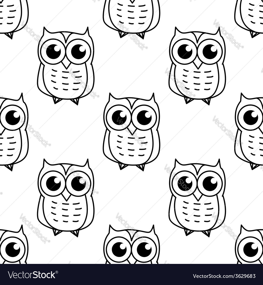 Doodle owl seamless pattern vector | Price: 1 Credit (USD $1)