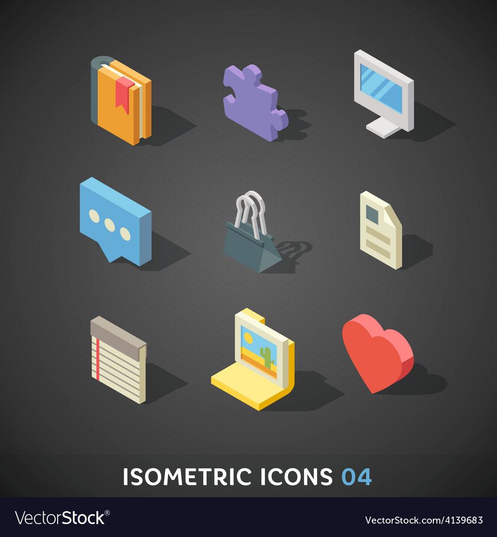 Flat isometric icons set 4 vector | Price: 3 Credit (USD $3)