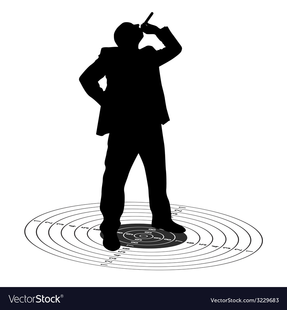 Man with cigarette on the target vector | Price: 1 Credit (USD $1)