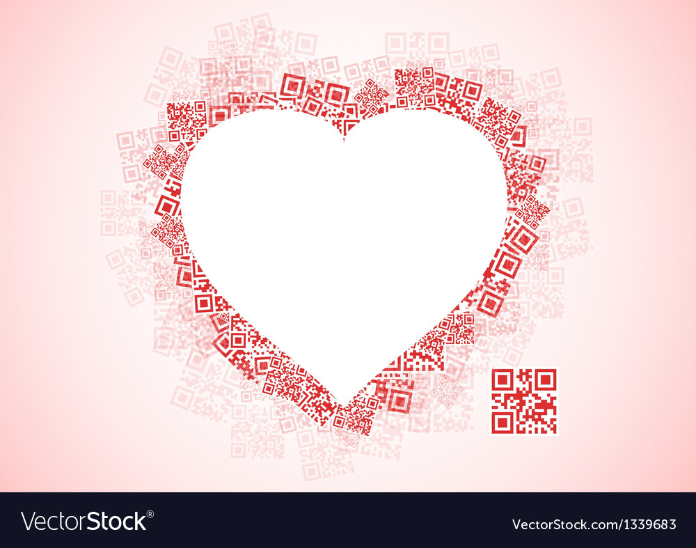 Red heart shape patchwork of qr codes vector | Price: 1 Credit (USD $1)