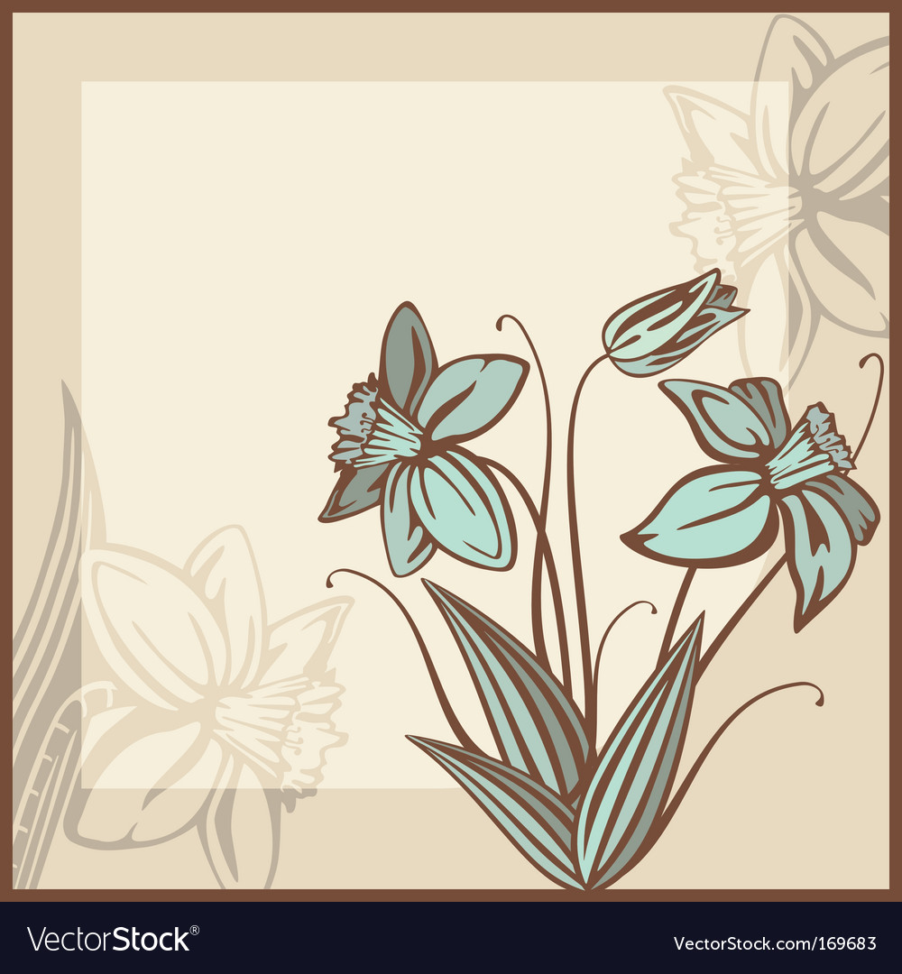 Retro card illustration with flowers vector | Price: 1 Credit (USD $1)
