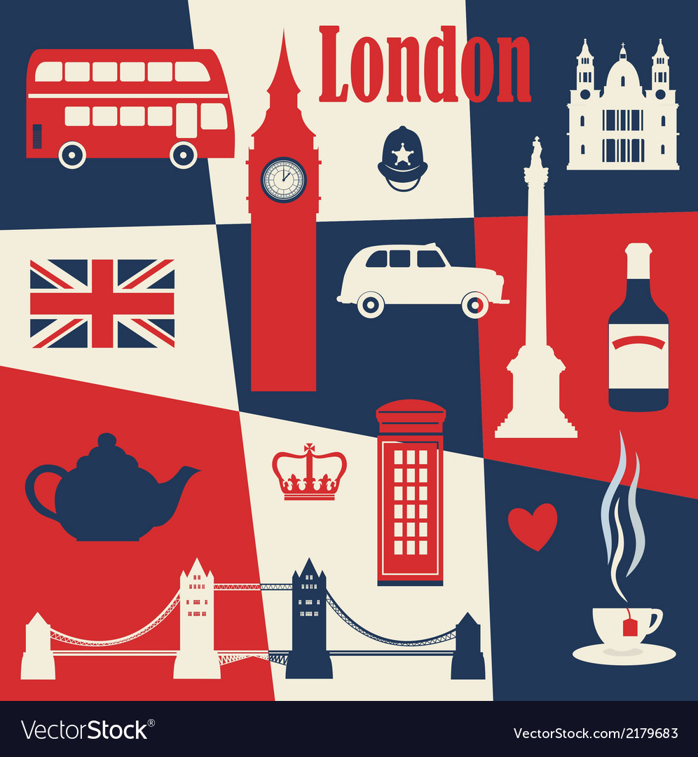 Retro style poster with london vector | Price: 1 Credit (USD $1)