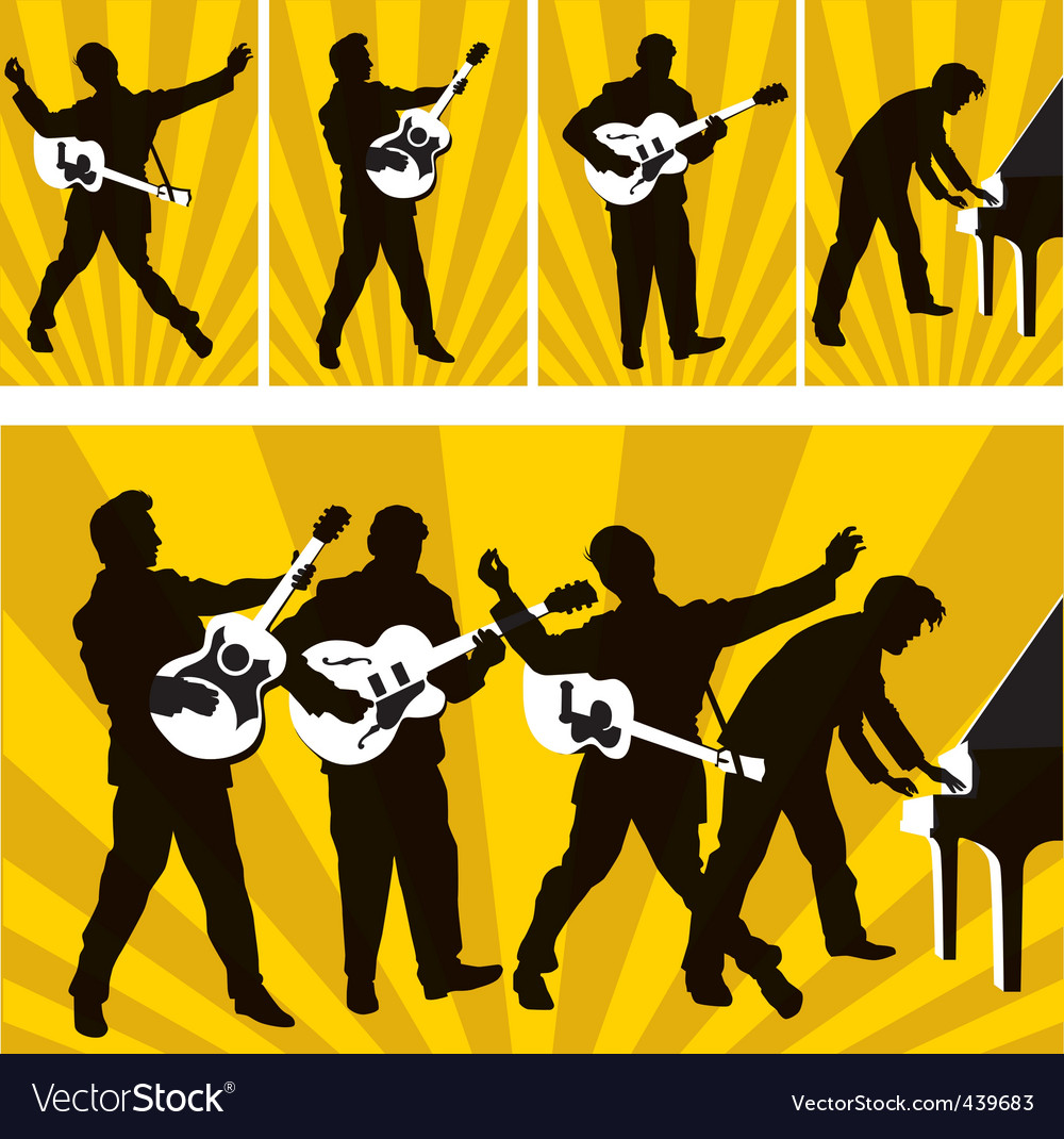 Rock and roll silhouettes vector | Price: 1 Credit (USD $1)