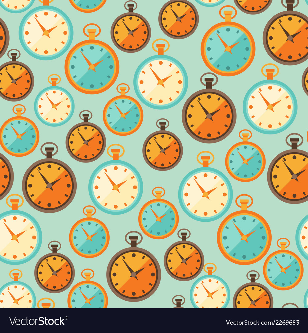 Seamless retro pattern with watches in flat style vector | Price: 1 Credit (USD $1)