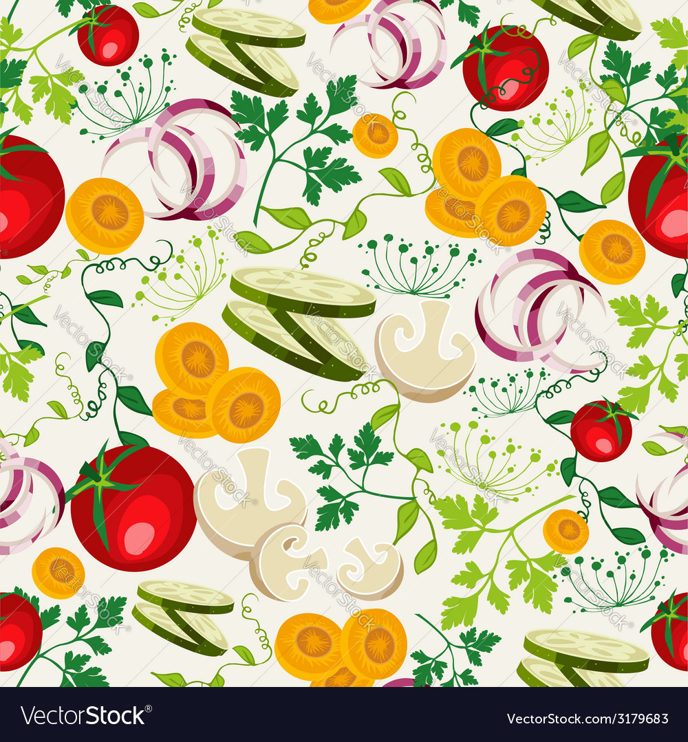 Vegetarian food pattern background vector | Price: 1 Credit (USD $1)