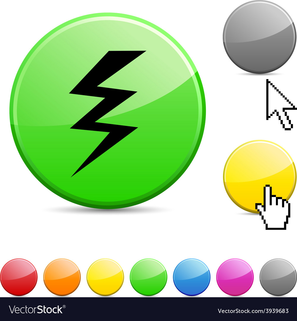Warning glossy button vector | Price: 1 Credit (USD $1)