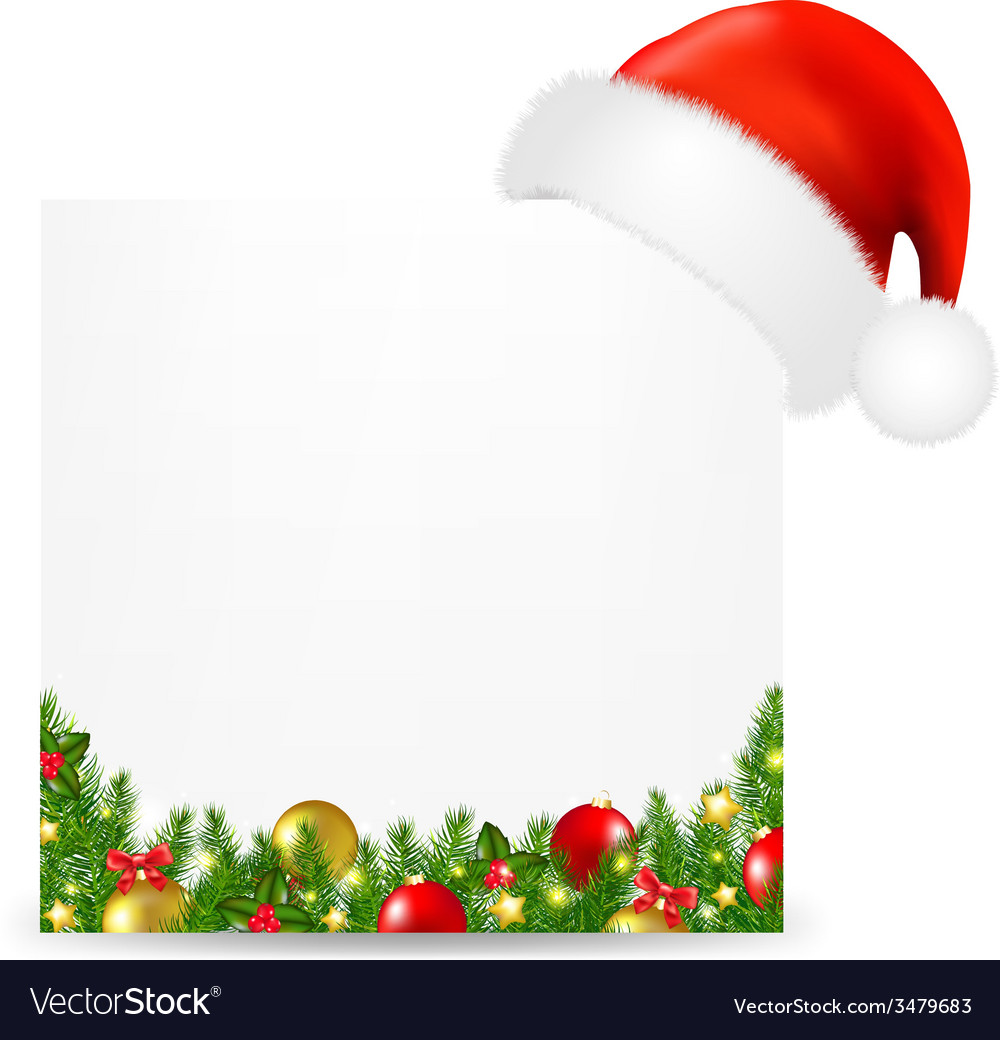 Xmas card with santa hat and text vector | Price: 1 Credit (USD $1)