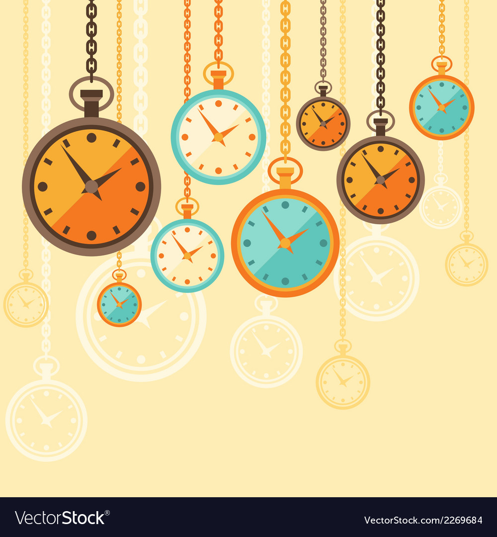 Background with retro watches in flat style vector | Price: 1 Credit (USD $1)