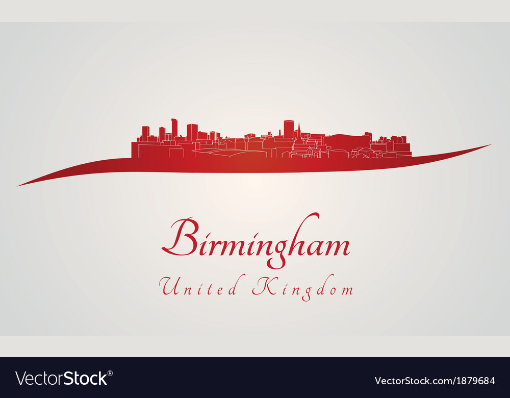 Birmingham skyline in red vector | Price: 1 Credit (USD $1)