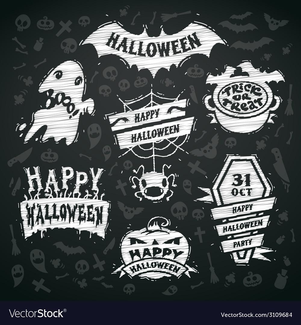 Chalk halloween labels on blackboard background vector   Price: 1 Credit (USD $1)
