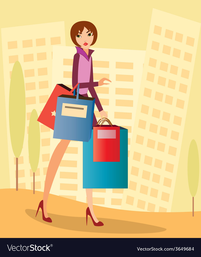 City-shopping vector | Price: 1 Credit (USD $1)