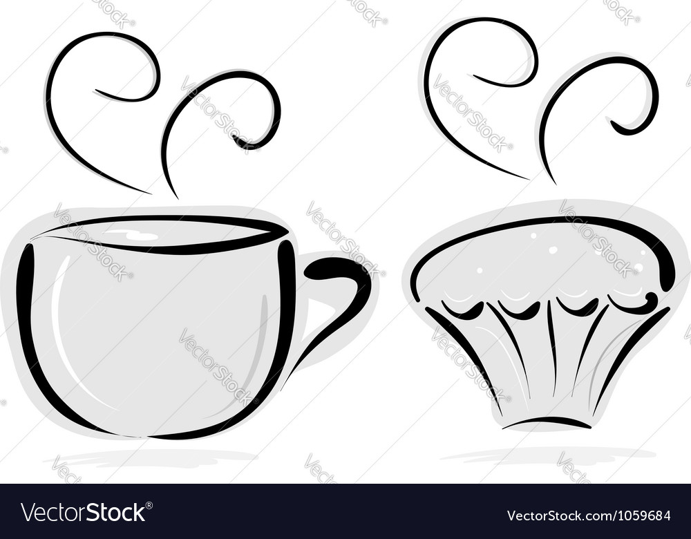Cup of tea and cake vector | Price: 1 Credit (USD $1)