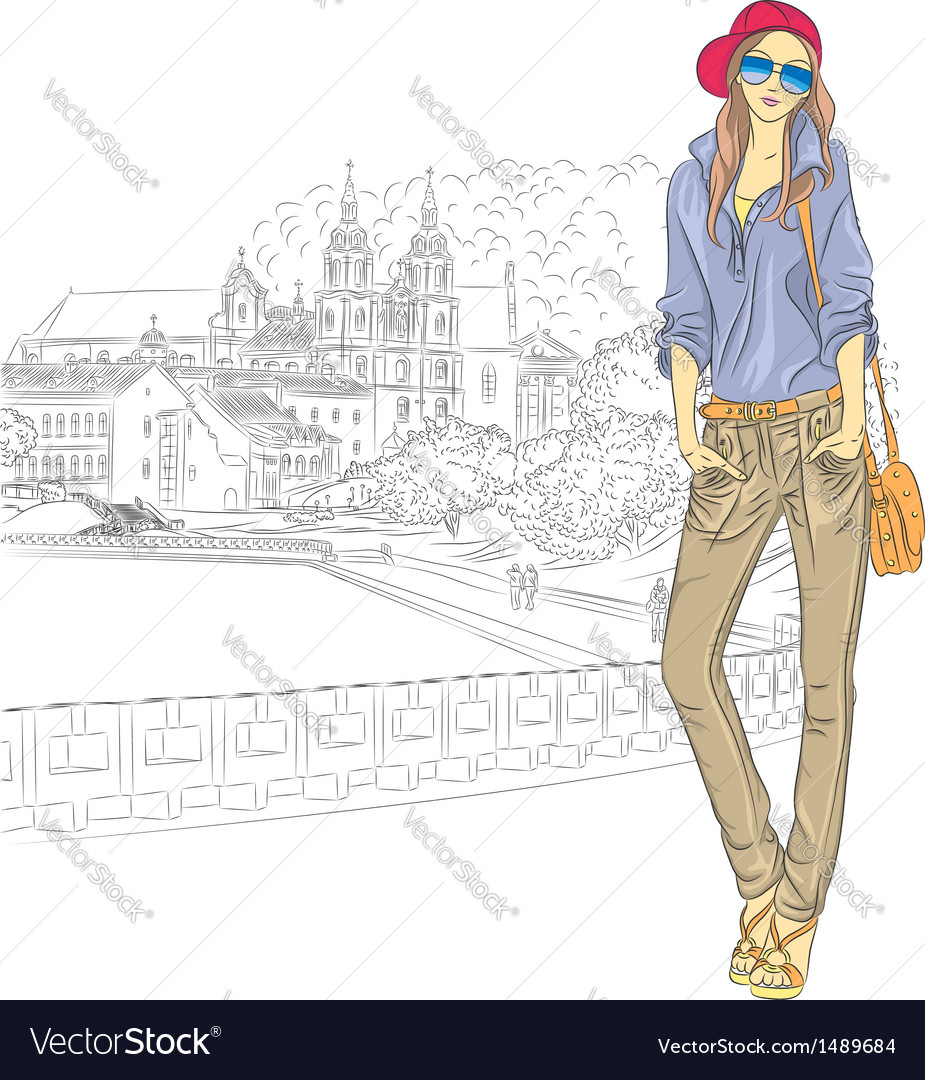 Fashion stylish girl in the old city vector | Price: 3 Credit (USD $3)