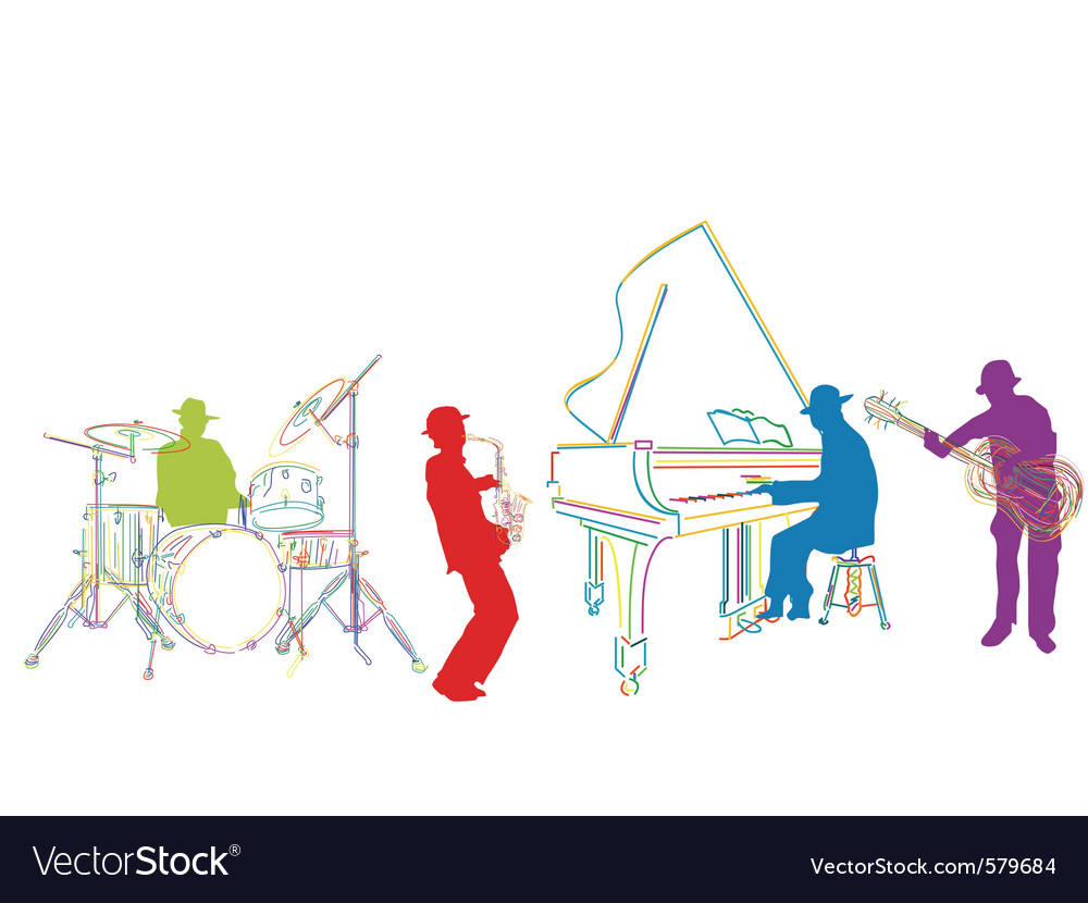 Jazz band sketch vector | Price: 1 Credit (USD $1)