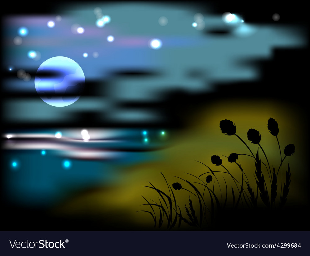 Night landscape with moon and stars vector | Price: 1 Credit (USD $1)