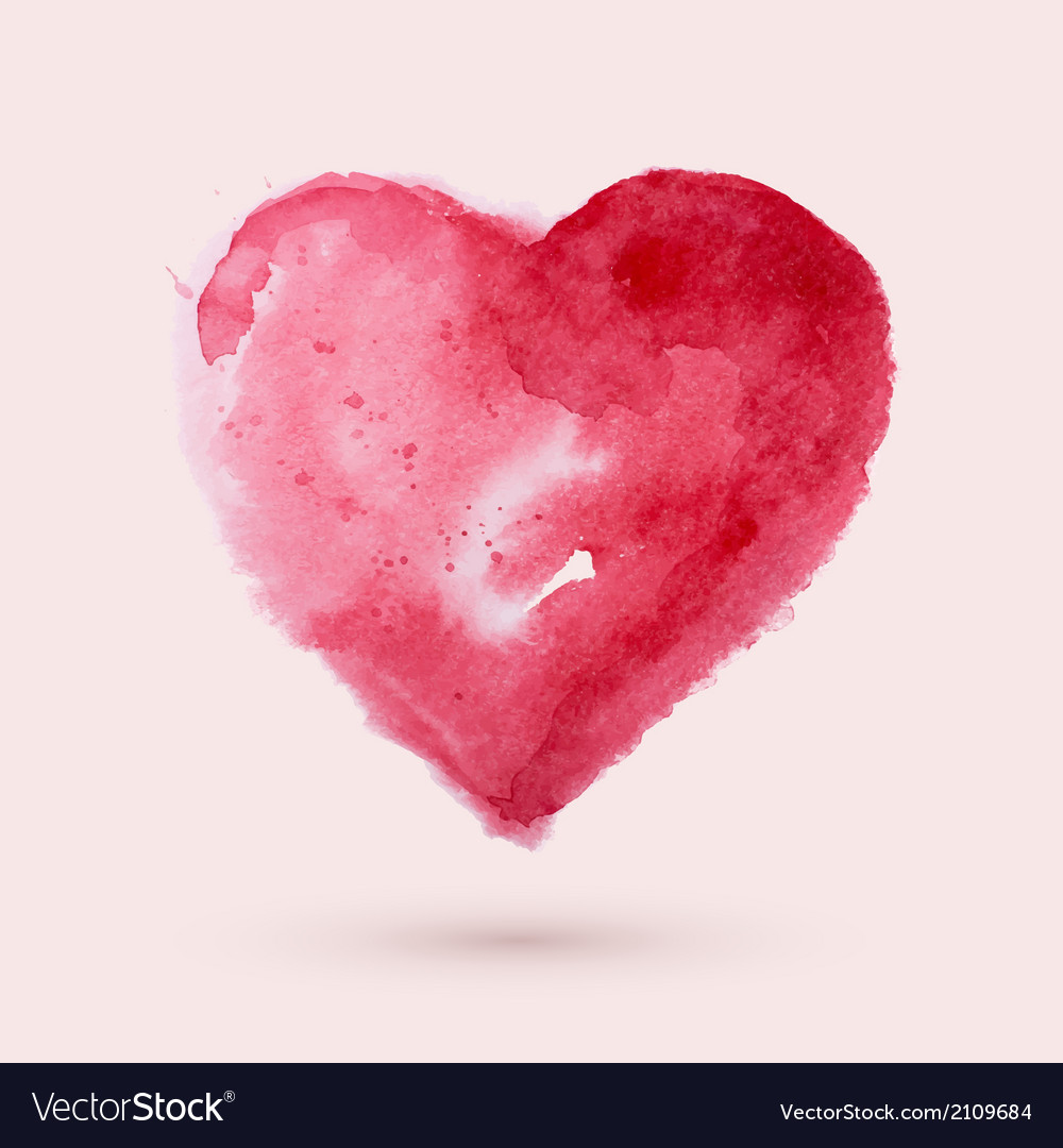 Watercolor heart vector