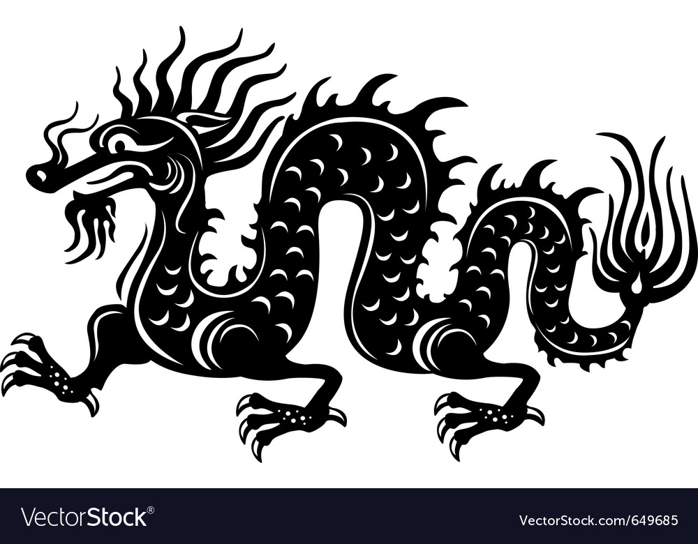 Black and white dragon vector | Price: 1 Credit (USD $1)