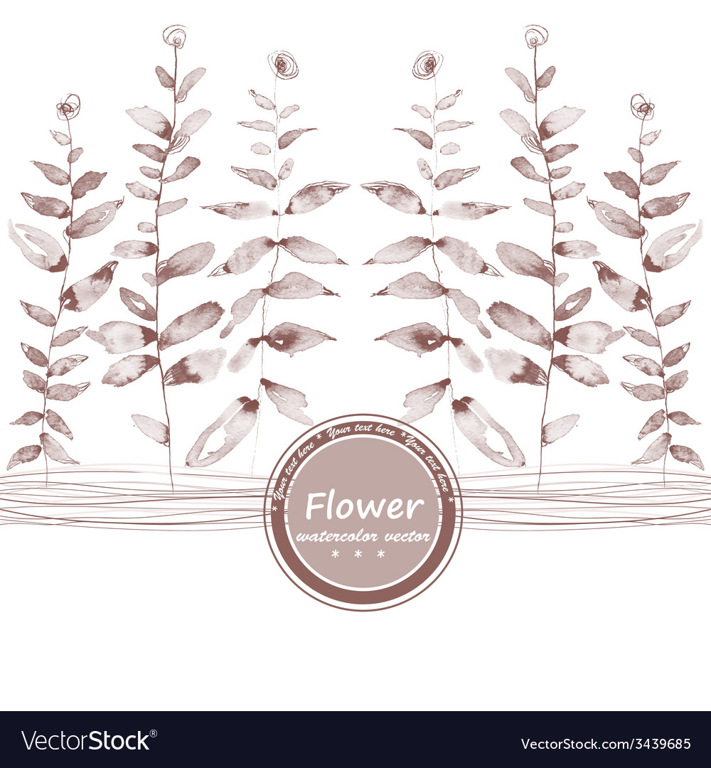 Brown watercolor flowers grisaille edging vector | Price: 1 Credit (USD $1)