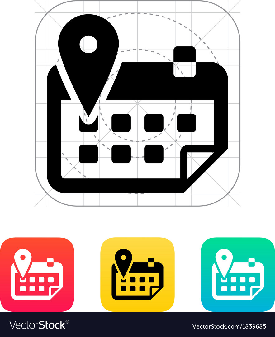 Calendar with location icon vector | Price: 1 Credit (USD $1)