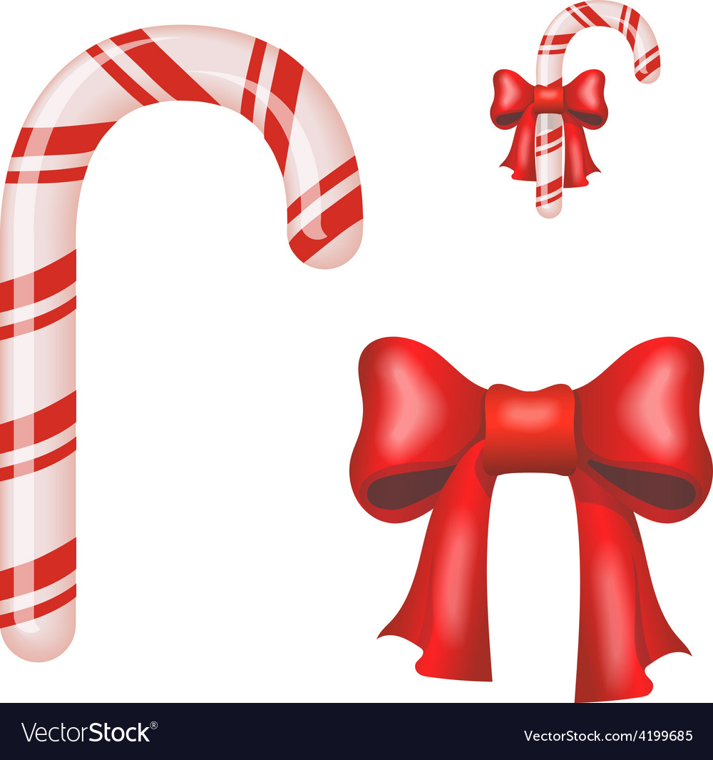 Christmas candy cane isolated on a white vector | Price: 1 Credit (USD $1)
