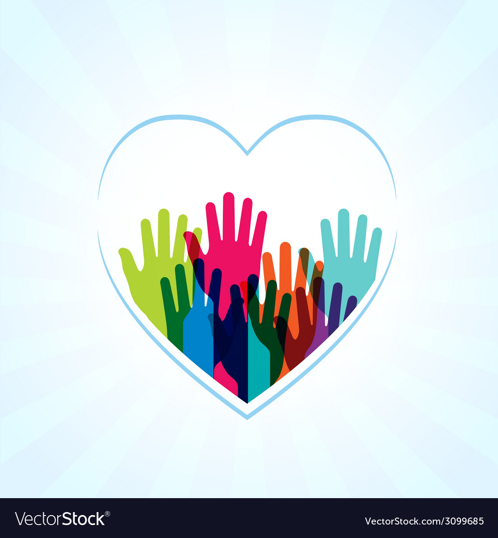 Colors hands up in hearts shape vector | Price: 1 Credit (USD $1)