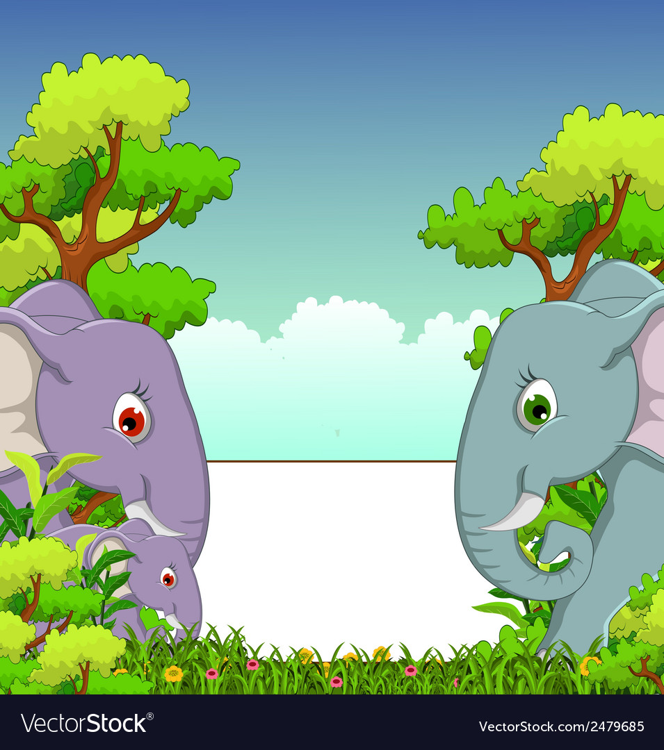 Couple elephant cartoon with forest background vector | Price: 1 Credit (USD $1)