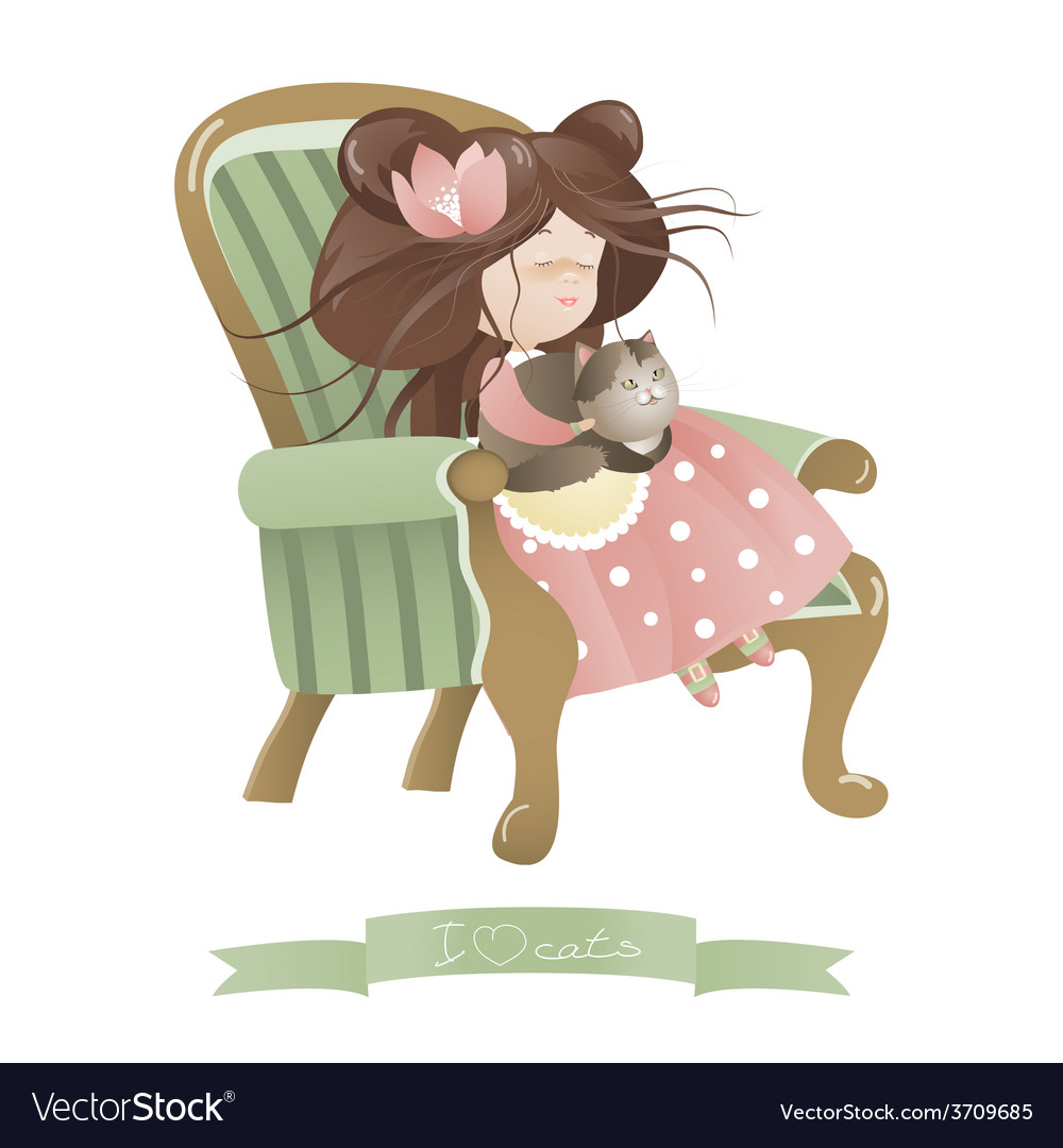 Cute girl with cat sitting in chair vector | Price: 1 Credit (USD $1)