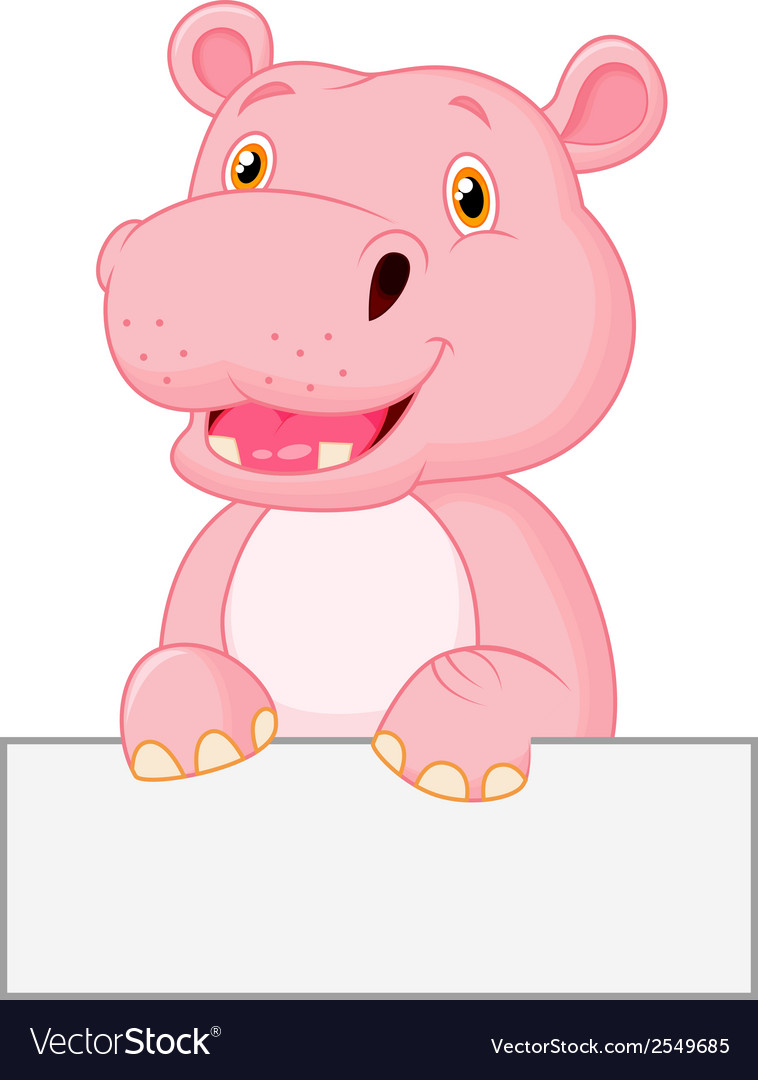 Cute hippo cartoon holding blank sign vector | Price: 1 Credit (USD $1)