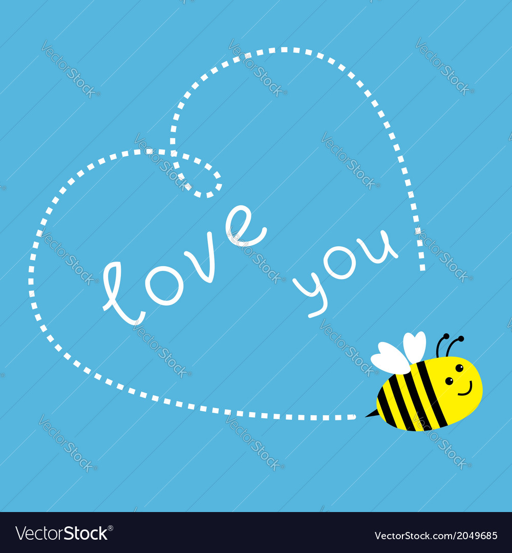 Flying bee dash heart in the sky card vector | Price: 1 Credit (USD $1)