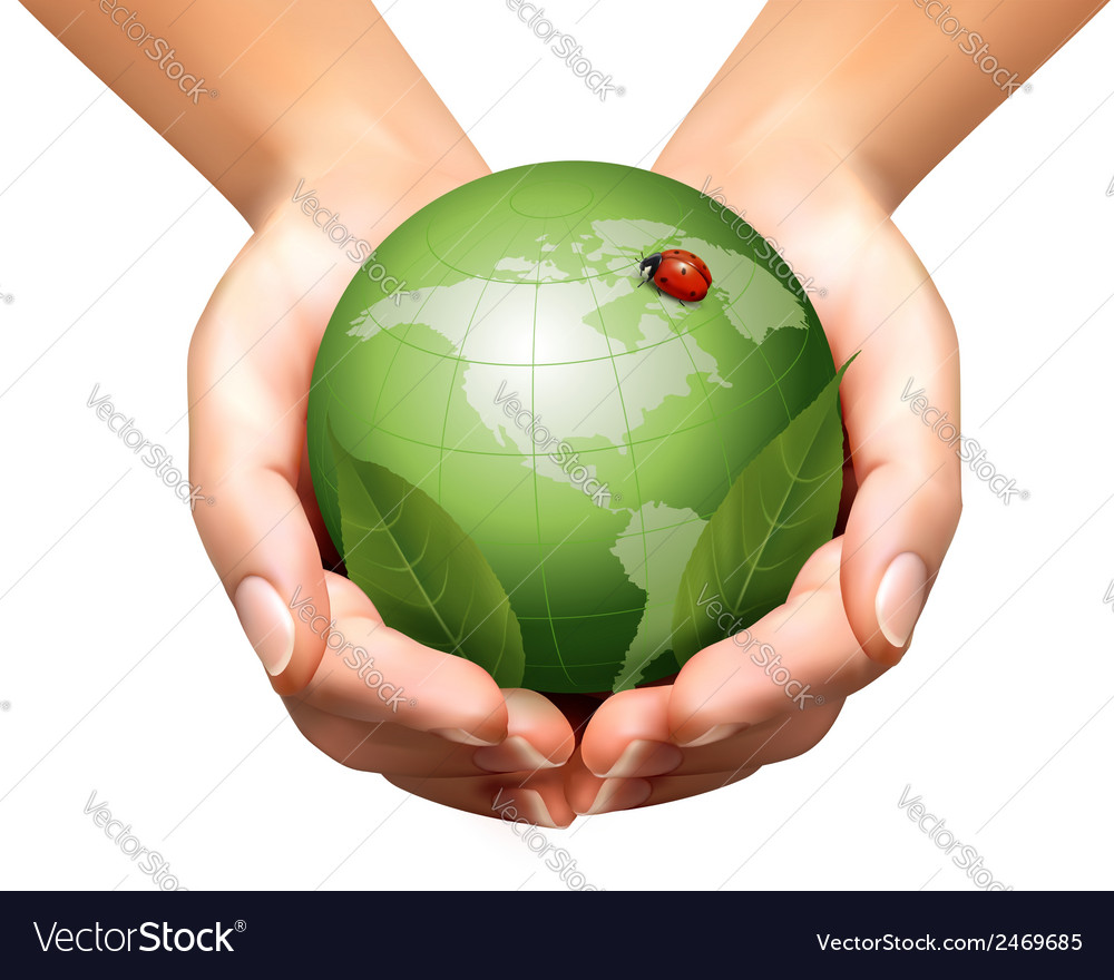 Green world with leaf and ladybug in woman hands vector | Price: 1 Credit (USD $1)