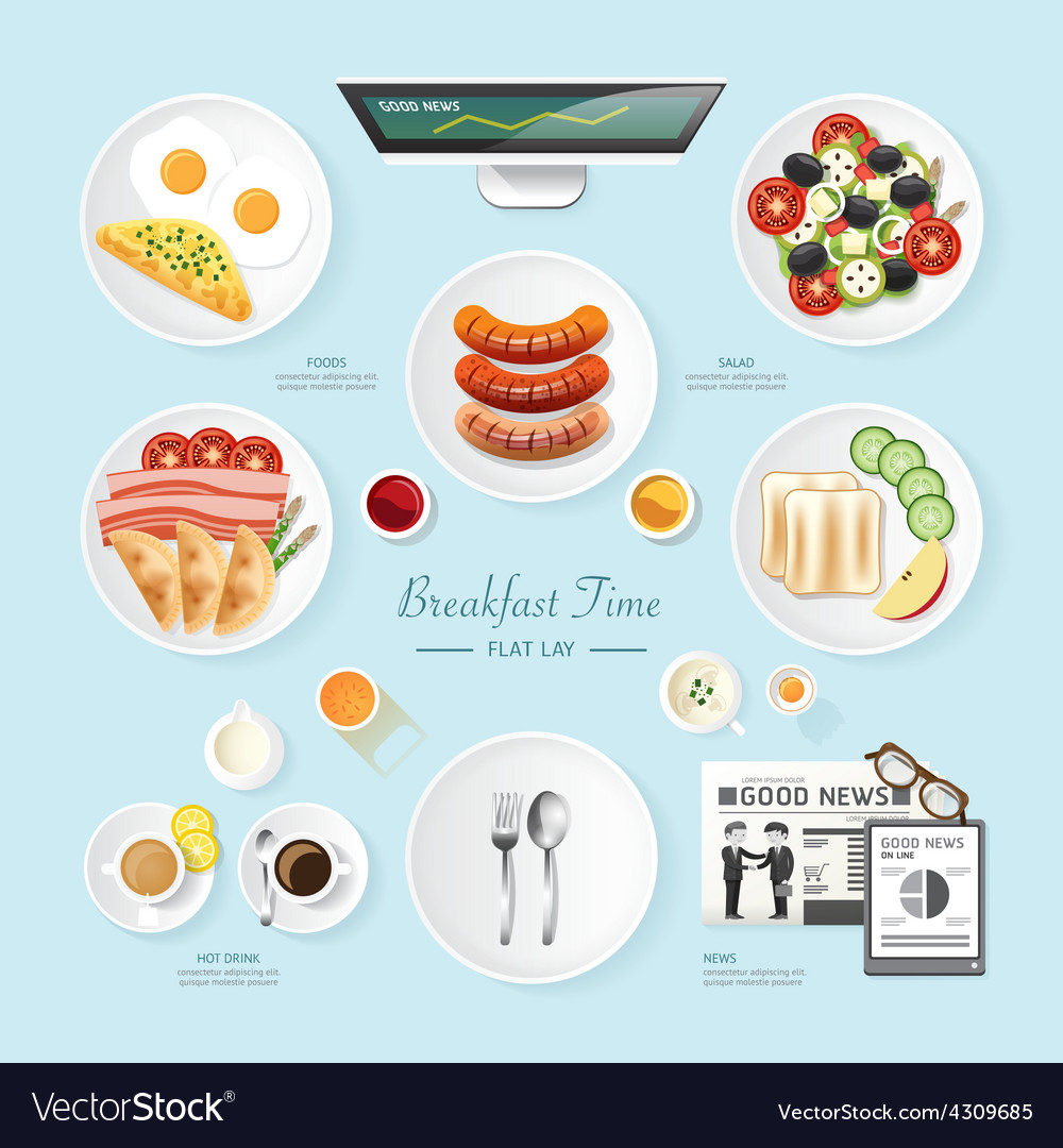 Infographic food business breakfast flat lay idea vector | Price: 1 Credit (USD $1)