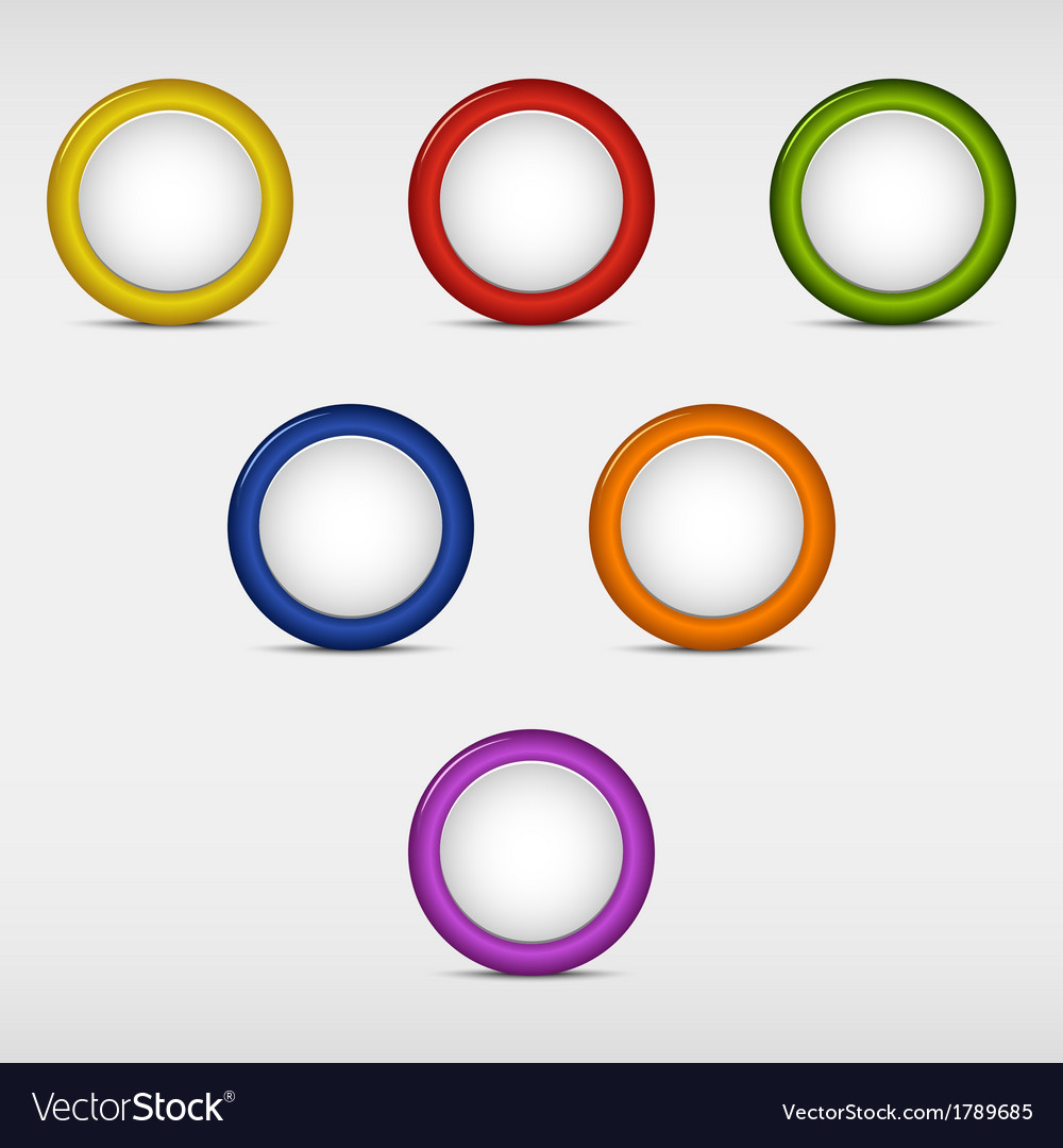 Set of colored round empty buttons vector | Price: 1 Credit (USD $1)