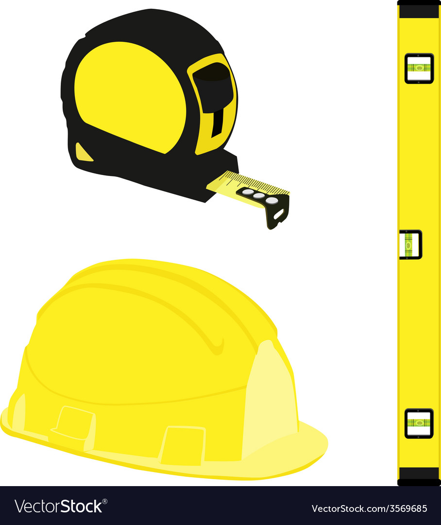 Yellow level construction building helmet and tape vector | Price: 1 Credit (USD $1)