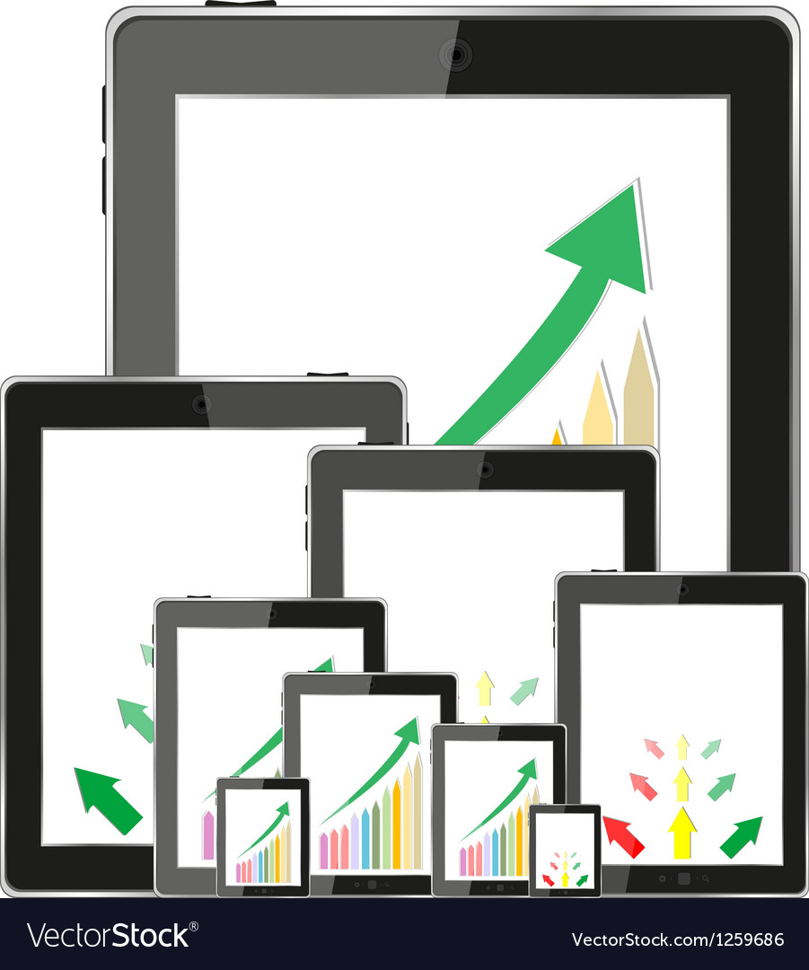 Business dashboard with graphs in a pc tablet vector | Price: 1 Credit (USD $1)