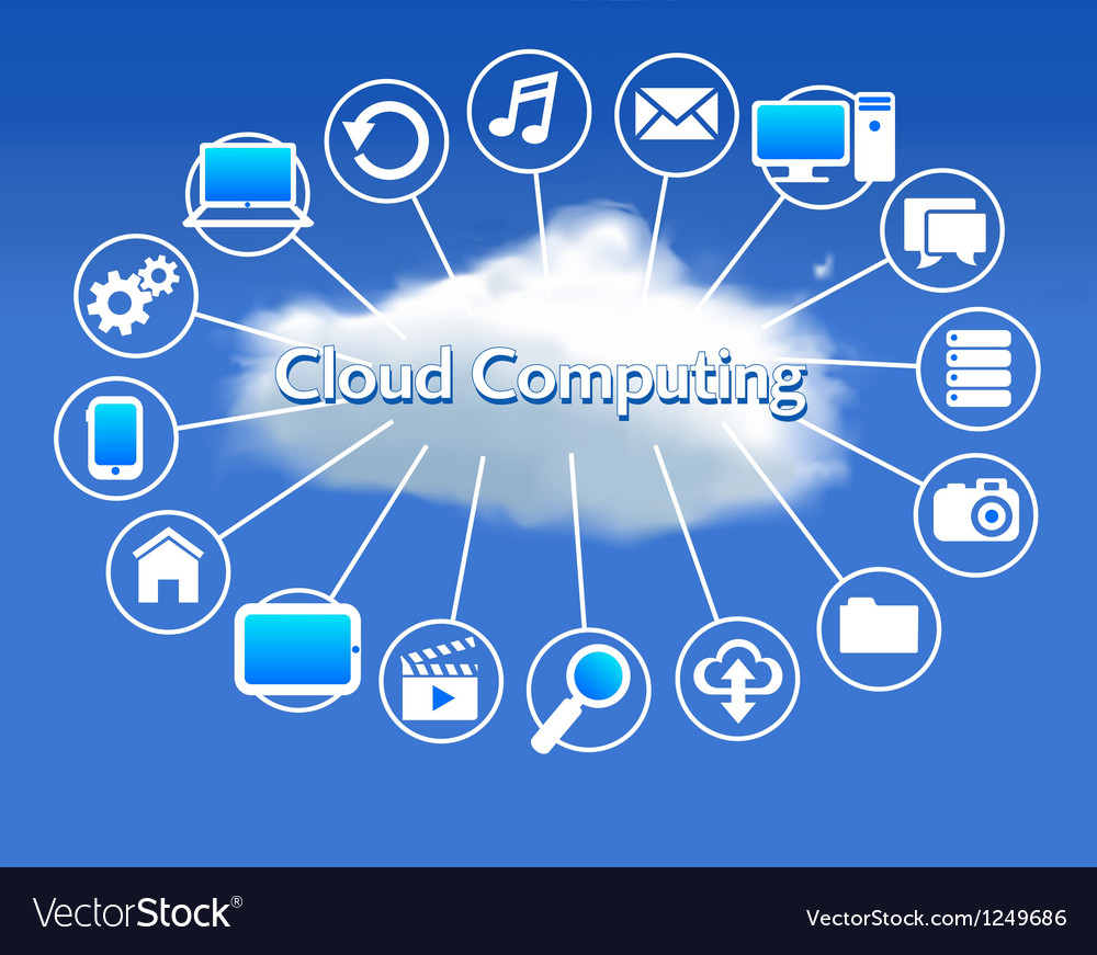 Cloud computing schematic vector | Price: 1 Credit (USD $1)