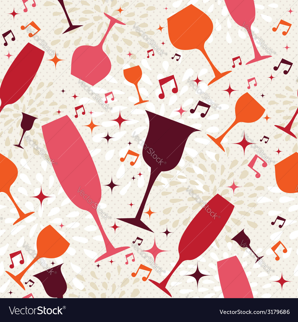 Cocktail glasses seamless pattern background vector | Price: 1 Credit (USD $1)