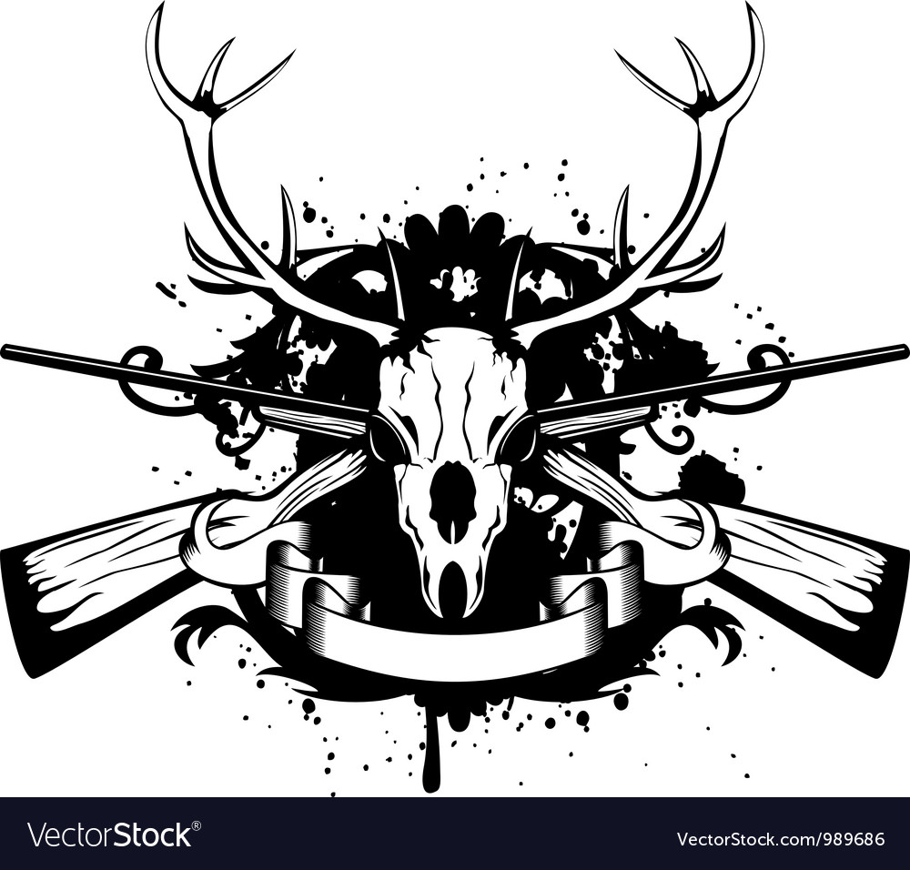 Crossed guns and skull of deer vector | Price: 1 Credit (USD $1)
