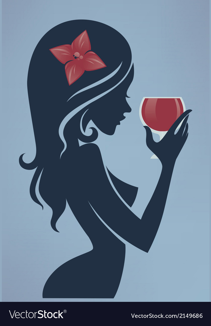 Drinking girl vector | Price: 1 Credit (USD $1)