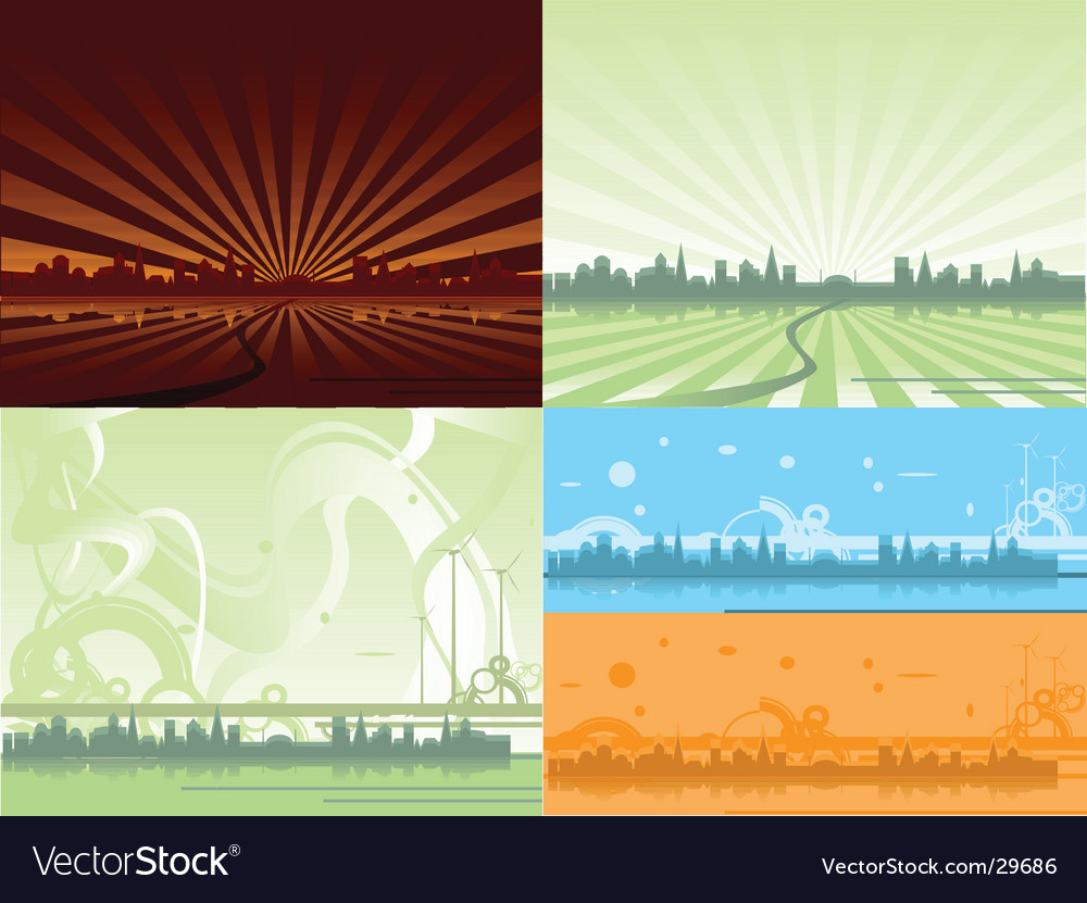 Ecological city backgrounds vector | Price: 1 Credit (USD $1)