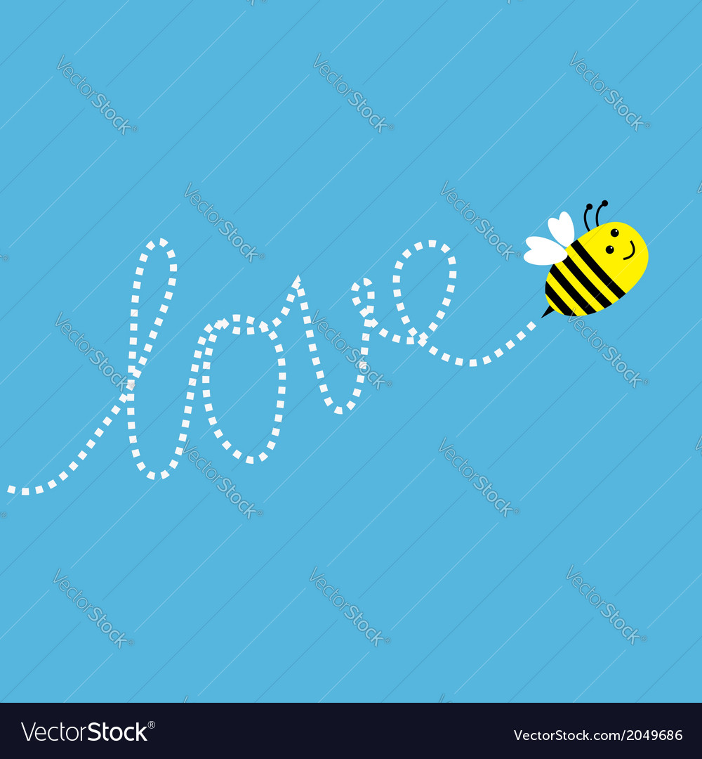 Flying bee dash word love in the sky card vector | Price: 1 Credit (USD $1)