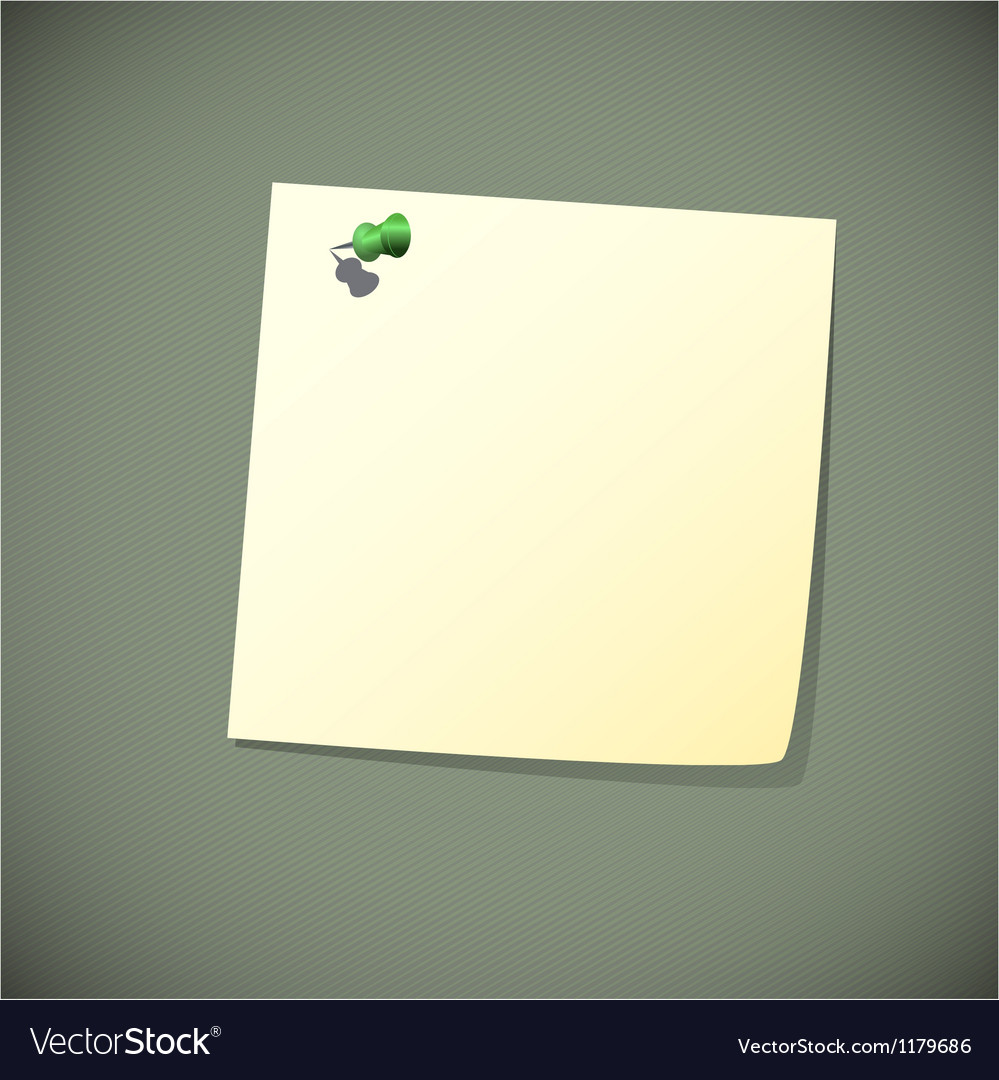 Green read note paper with pin vector | Price: 1 Credit (USD $1)